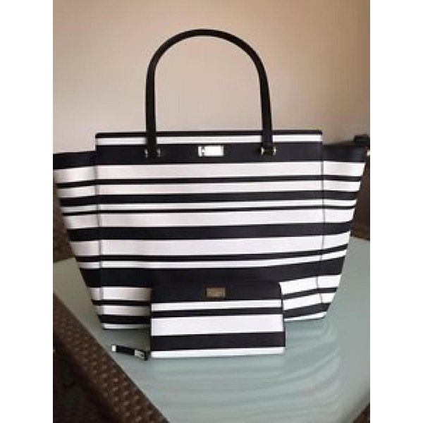 ケイトスペード バッグ 輸入品 Kate Spade Arbour Hill Printed Striped Tote Bag + Wallet|uujiteki