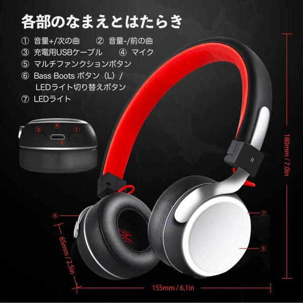 Bluetooth ヘッドホン OneAudioワイヤレス ヘッドホン低音強化 40mm径大型ドライバー 高音質 超軽量 コンパクトLEDラ|uukaifujii|19