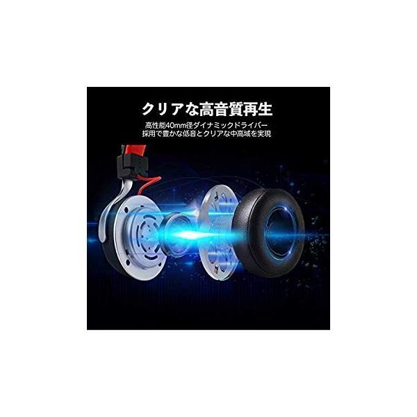 Bluetooth ヘッドホン OneAudioワイヤレス ヘッドホン低音強化 40mm径大型ドライバー 高音質 超軽量 コンパクトLEDラ|uukaifujii|04
