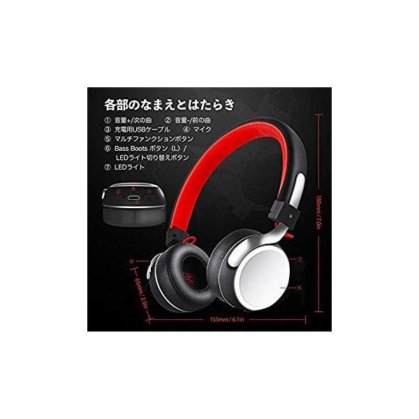 Bluetooth ヘッドホン OneAudioワイヤレス ヘッドホン低音強化 40mm径大型ドライバー 高音質 超軽量 コンパクトLEDラ|uukaifujii|05