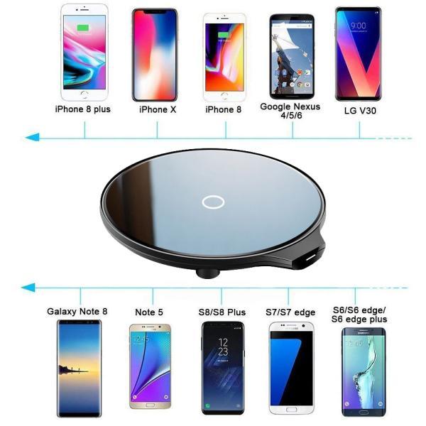 Qi ワイヤレス 充電器 qc 3.0 10W 発熱対策 急速 無線 充電 超薄型 軽量 呼吸ランプ付き 多重保護 チャージャー スマホ充電器 LEDカラ  モバイル|uuu-shop|10