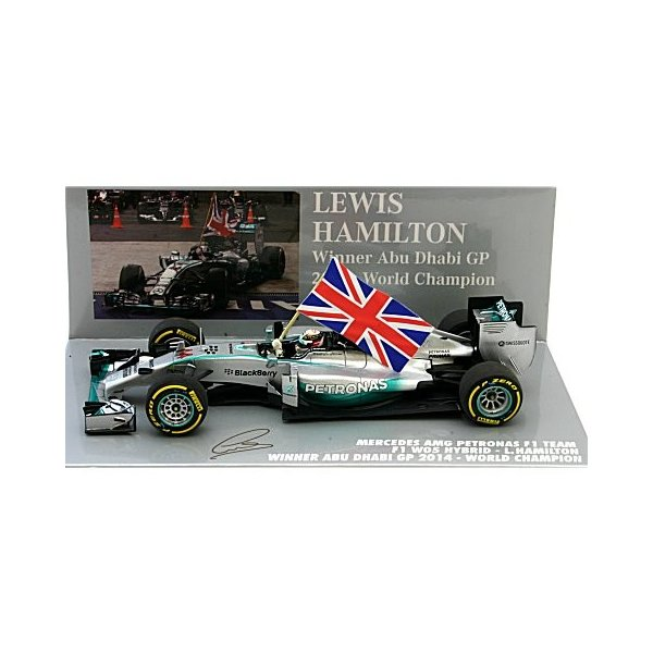 メルセデス AMG ペトロナス F1チーム W05 L.ハミルトン アブダビGP 2014 ウイナー フラッグバージョン (1/43 ミニチャンプス410140544)|v-toys