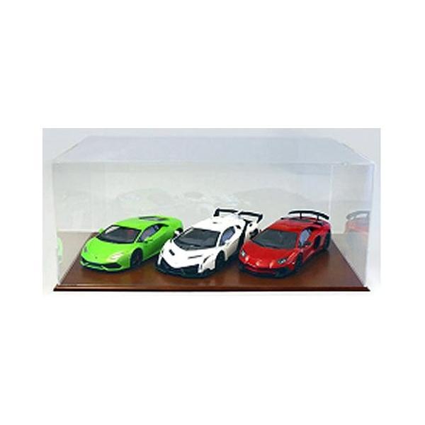 アクリルケース&木製ディスプレイベースセット (大) ブラウン (京商KS02070)|v-toys|02