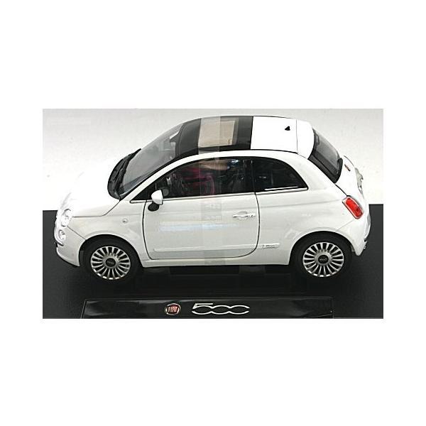 フィアット 500 2007 ホワイト (1/18 ウエリーWE18012W)|v-toys|03