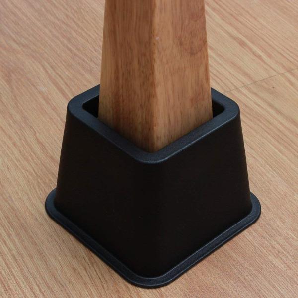 TCATEC ベッド脚カバー 高さ調節 継脚 継ぎ足 こたつ 脚 テーブル脚台 テーブル用継脚 4pcs/セット(正方形)