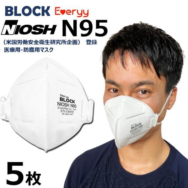 NIOSH N95 医療用 マスク 5 枚 送料無料 Everyyの画像