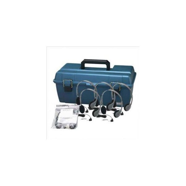 Personal Headset Lab Pack with Carry Case Headsets: 24, Ear Cushions: Leatherette, Volume Control: