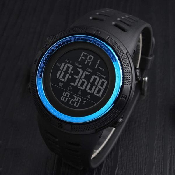 腕時計ラウンドフェイスデジタルメンズ防水アラームタイマーストップウォッチLED日付表示取扱説明書ビジネスカジュアルスポーツシンプ