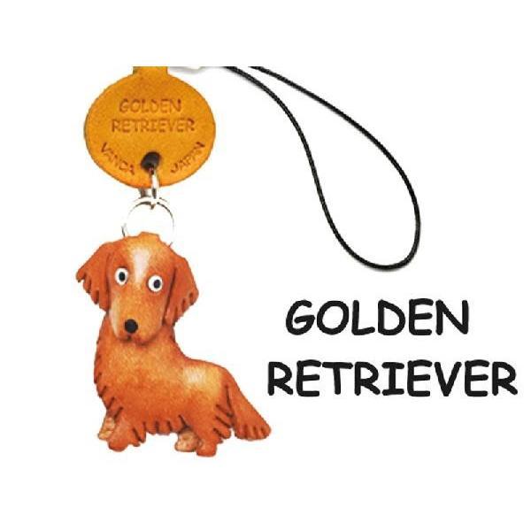 本革携帯 犬ストラップ ゴールデンレトリバー/バンカクラフト 革物語/VANCA CRAFT/レザー/手作り/雑貨/革小物/犬/ドッグ/わんこ/名入れ可|vanca