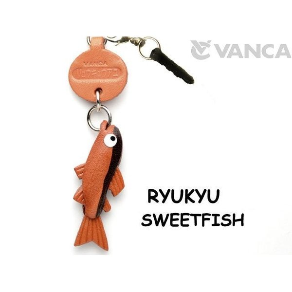 スマホピアス/魚/携帯アクセサリー リュウキュウアユ/バンカクラフト 革物語/VANCA CRAFT/レザー/手作り/グッズ/雑貨/革小物/名入れ可