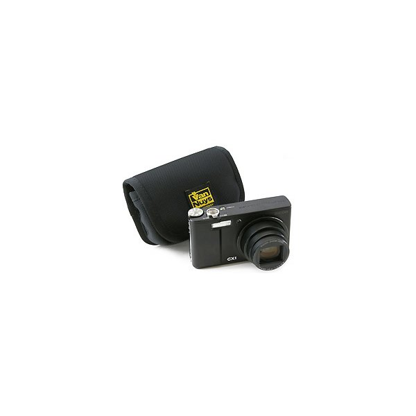 レンズと液晶をカードで保護するリコー CX6/CX5/CX4/CX3/CX2/CX1/R10/R8/R50用低反発クッション材底パット入り横型キャリングケース【バンナイズ/VanNuys】