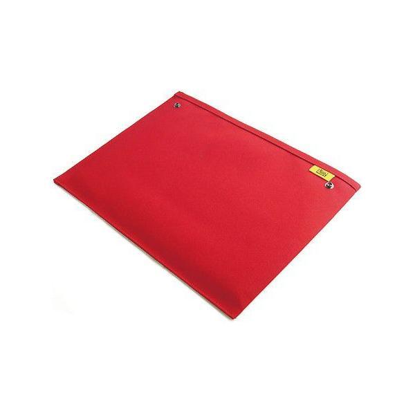 スナップボタン で連結できる 帆布 の 封筒 ポーチ /M 横型/ A4 クリアファイル 用 (8号帆布製: レッド )< 書類ケース バッグインバッグ 小物 整理 >