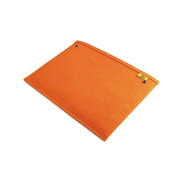 スナップボタン で連結できる 帆布 の 封筒 ポーチ /M 横型/ A4 クリアファイル 用 (8号帆布製: オレンジ )< 書類ケース バッグインバッグ 整理 >