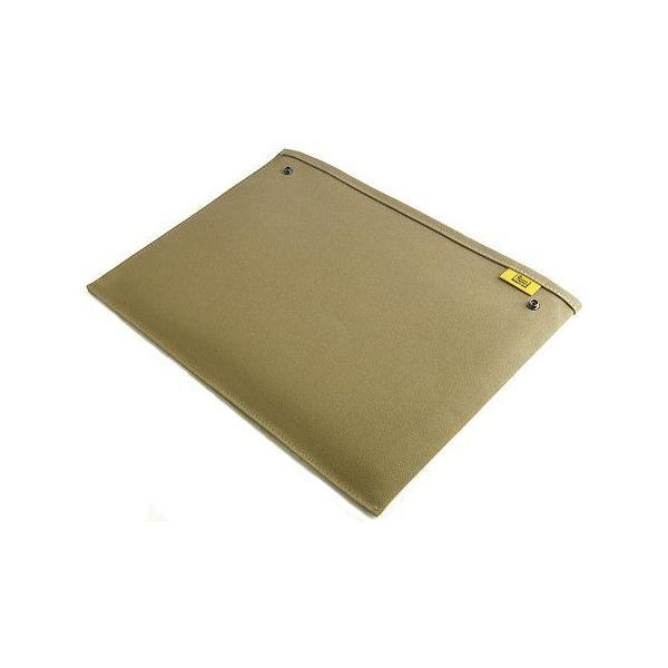 スナップボタン で連結できる 帆布 の 封筒 ポーチ /M 横型/ A4 クリアファイル 用 (8号帆布製: カーキ グレー )< 書類ケース バッグインバッグ >