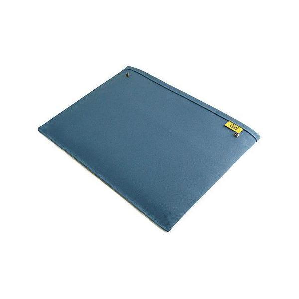 スナップボタン で連結できる 帆布 の 封筒 ポーチ /M 横型/ A4 クリアファイル 用 (8号帆布製: ブルー )< 書類ケース バッグインバッグ 整理 >