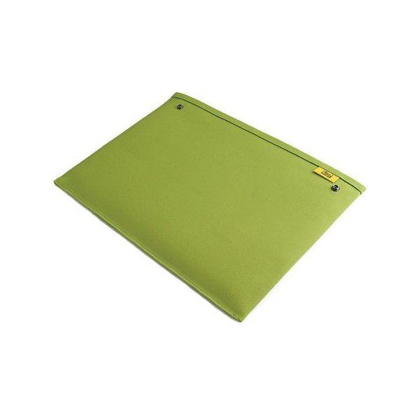 スナップボタン で連結できる 帆布 の 封筒 ポーチ /M 横型/ A4 クリアファイル 用 (8号帆布製: ライム )< 書類ケース バッグインバッグ 整理 >