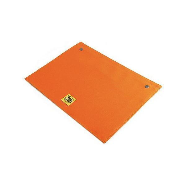 スナップボタンで連結できる 帆布の封筒ポーチ/M 横型 A4クリアファイル用 専用フラップ(8号帆布製:オレンジ)< 書類ケース バッグインバッグ 整理 >