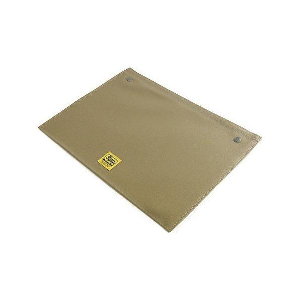 スナップボタンで連結できる 帆布の封筒ポーチ/M 横型 A4クリアファイル用 専用フラップ(8号帆布製:カーキグレー)< 書類ケース バッグインバッグ >