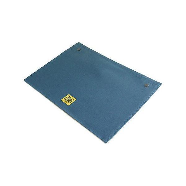 スナップボタンで連結できる 帆布の封筒ポーチ/M 横型 A4クリアファイル用 専用フラップ(8号帆布製:ブルー)< 書類ケース バッグインバッグ 整理 >