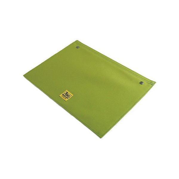 スナップボタンで連結できる 帆布の封筒ポーチ/M 横型 A4クリアファイル用 専用フラップ(8号帆布製:ライム)< 書類ケース バッグインバッグ 整理 >