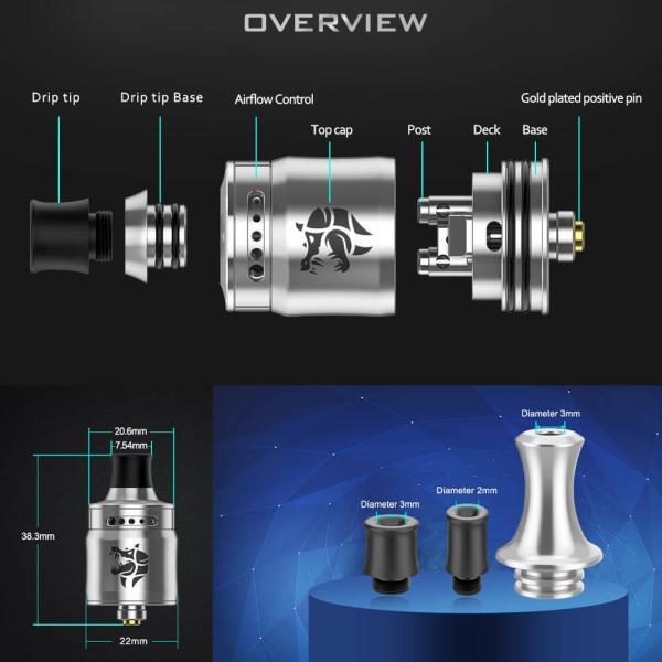 Geekvape AMMIT MTL RDA 22mm ( アミット ) シングルコイル 3D気流エアフローシステム|vapesteez|04