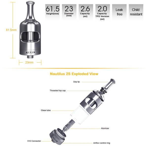電子タバコ クリアロマイザー Aspire Nautilus 2S Tank 23mm ノーチラス トップフィル|vapesteez|03