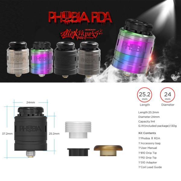 電子タバコ アトマイザー VANDYVAPE PHOBIA V2 RDA 24mm BF対応 ドリッパー|vapesteez|02