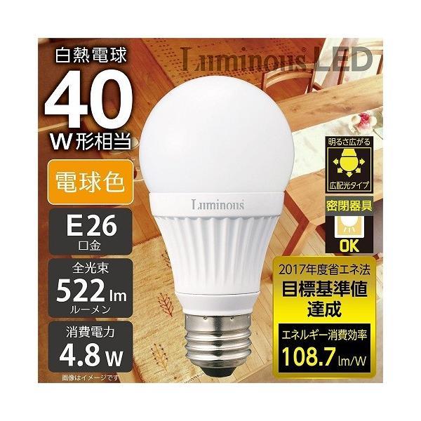 ルミナス LED電球 口金直径26mm 40W相当 電球色 広配光タイプ 密閉器具対応 2個セット CM-A40GL2 _|vaps|03