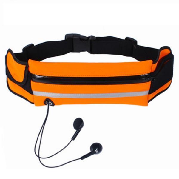 ランニングポーチ 《オレンジ》 大容量収納 蛍光反射 伸縮ベルト 防水 イヤホン穴 ランニングバッグ ウエストポーチ _
