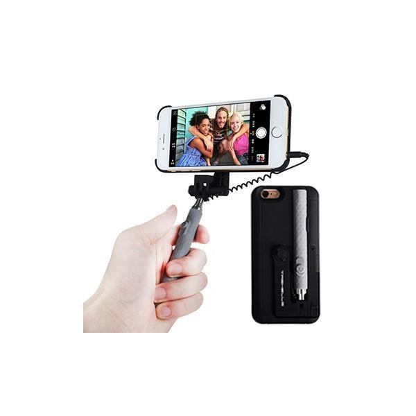 軽量薄型 自撮り棒一体型ケース iPhone6Plus/6sPlus対応 5.5インチ用 セルカ棒 スマホスタンド (ブラック) _.