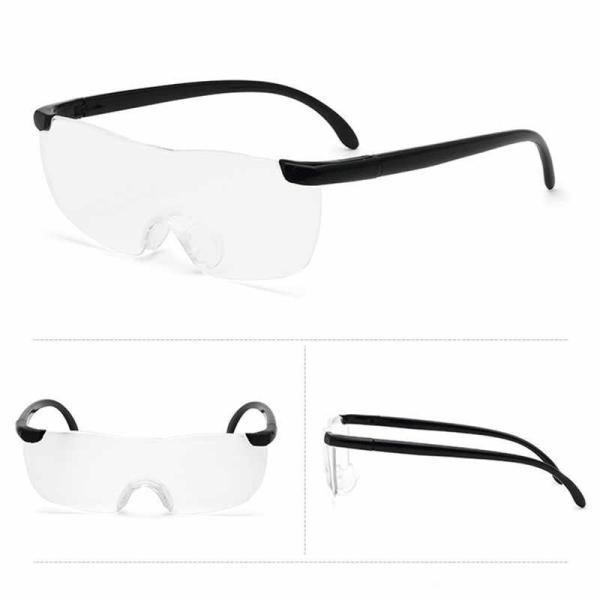 メガネ型ルーペ 1.6倍 拡大鏡 軽量 眼鏡 めがね ブラック ルーペ フリーサイズ _