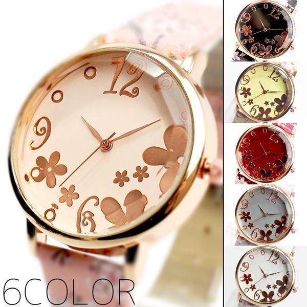 腕時計レディースレディース腕時計SPST034手元にパッと花開く 魅力あふれたかわいい桜模様ベルトクリスタルカットガラスピンクゴ