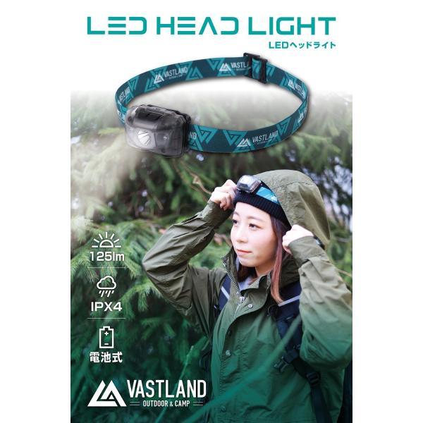 VASTLAND LED ヘッドライト ヘッドランプ 125ルーメン 6段階角度調節 単4電池式 IPX4 防水 登山 釣り 防災|vastland|02