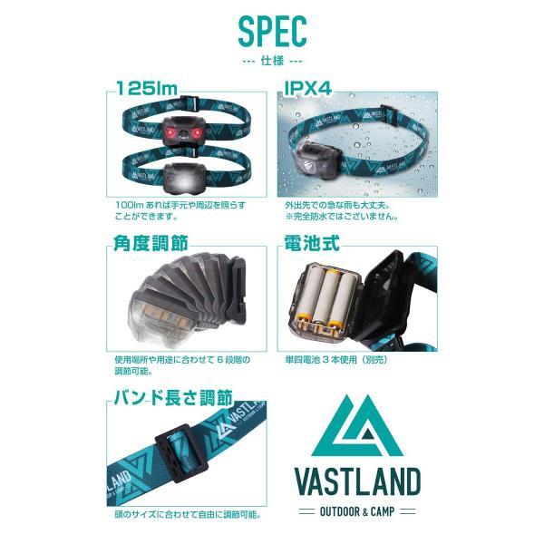 VASTLAND LED ヘッドライト ヘッドランプ 125ルーメン 6段階角度調節 単4電池式 IPX4 防水 登山 釣り 防災|vastland|05