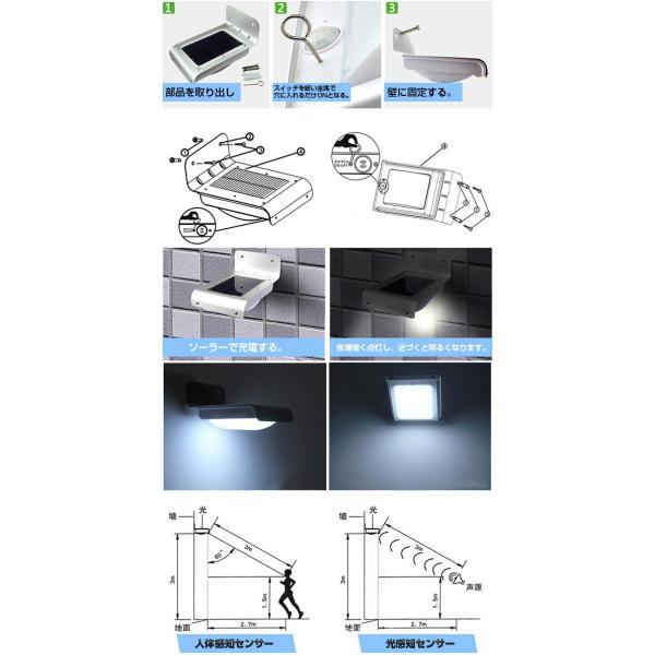 LEDセンサーライト 屋外 ソーラー 人感センサー 自動点灯 LEDソーラー 明るさセンサー ソーラーライト ソーラー充電 照明 人気 照明器具|vastmart|03