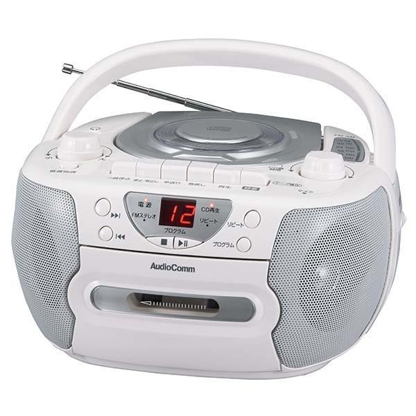 CDラジカセ ワイドFM  カセットレコーダー CDプレーヤー お手持ち ラジオ AM/FM受信 ヘッドホン端子 内蔵マイク シルバー オーム電機|vastmart|02