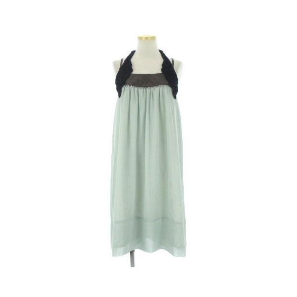 710c952776c52 未使用品 ヒロミシスル HiROMITHiSTLE ワンピース ドレス ひざ丈 キャミ ホルターネック リボン ミント グリーン系 F