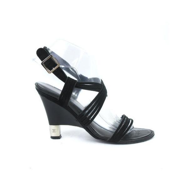 シャネル CHANEL サンダル ストラップ ヒール スウェード ココマーク 黒 ブラック 37 1/2  靴 シューズ IBS1 レディース【中古】【ベクトル 古着】|vectorpremium|02