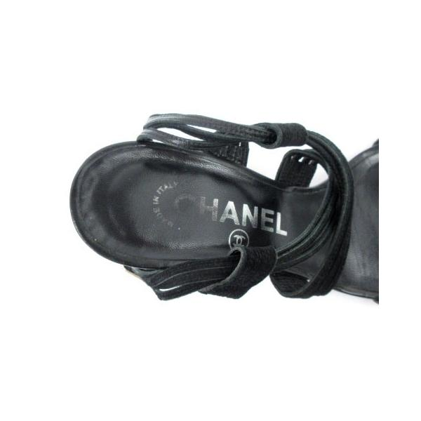 シャネル CHANEL サンダル ストラップ ヒール スウェード ココマーク 黒 ブラック 37 1/2  靴 シューズ IBS1 レディース【中古】【ベクトル 古着】|vectorpremium|04