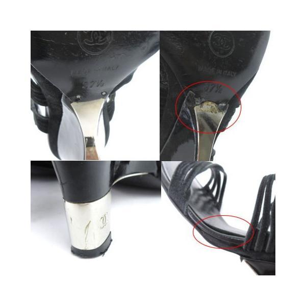 シャネル CHANEL サンダル ストラップ ヒール スウェード ココマーク 黒 ブラック 37 1/2  靴 シューズ IBS1 レディース【中古】【ベクトル 古着】|vectorpremium|06