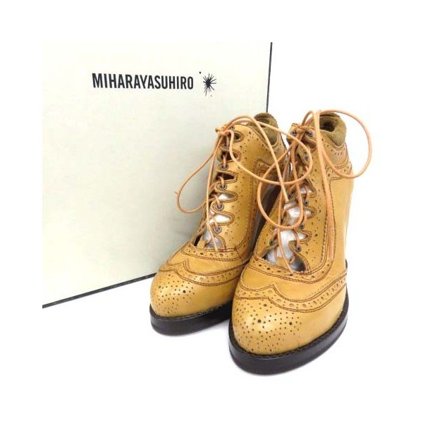 ミハラヤスヒロ MIHARA YASUHIRO ブーツ ブーティ シューズ 靴 ウイングチップ メダリオン パーフォレーション ベージュ キャメル 23cm 170827 レディース