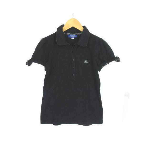 【中古】バーバリーブルーレーベル BURBERRY BLUE LABEL ポロシャツ 半袖 パフスリーブ リボン 38 黒 ブラック  レディース 【ベクトル 古着】|vectorpremium