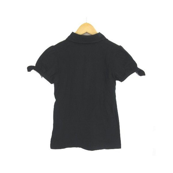 【中古】バーバリーブルーレーベル BURBERRY BLUE LABEL ポロシャツ 半袖 パフスリーブ リボン 38 黒 ブラック  レディース 【ベクトル 古着】|vectorpremium|02