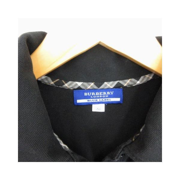 【中古】バーバリーブルーレーベル BURBERRY BLUE LABEL ポロシャツ 半袖 パフスリーブ リボン 38 黒 ブラック  レディース 【ベクトル 古着】|vectorpremium|03