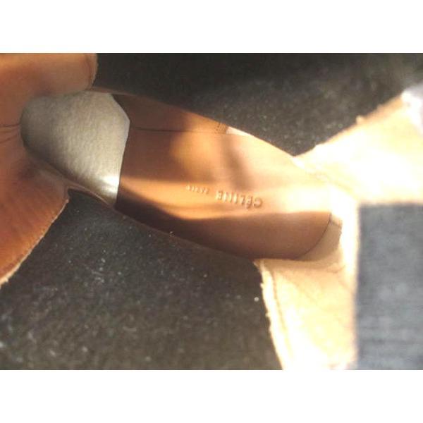 【CELINE/セリーヌ】 完売商品 人気 レア♪ サイドゴアブーツ ショート バイカラー 本革 レザー チャンキーヒール 太ヒール 38 ブラウン×ブラック レディース