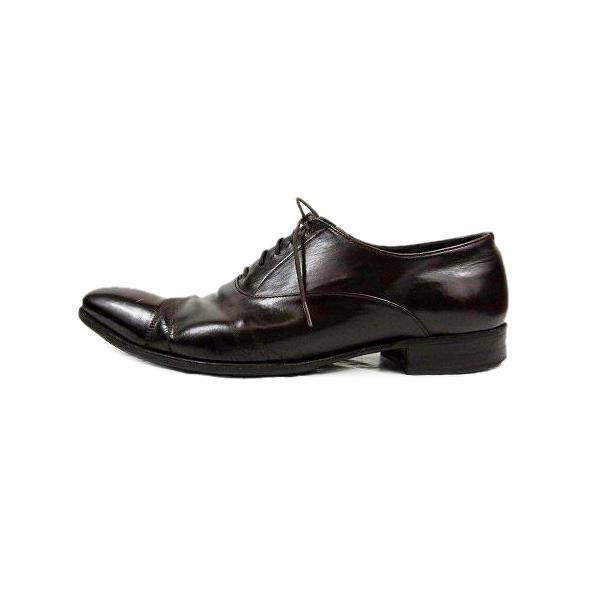 中古 プラダPRADAビジネスシューズレースアップレザー革靴6.5ダークブラウン/△F91メンズ ベクトル古着