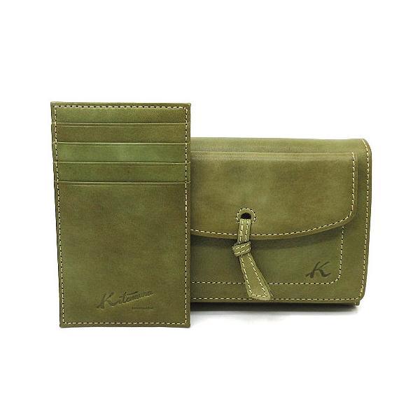 中古 キタムラKitamuraレザー財布Wホックカードケース付きオリーブ緑美品レディース ベクトル古着