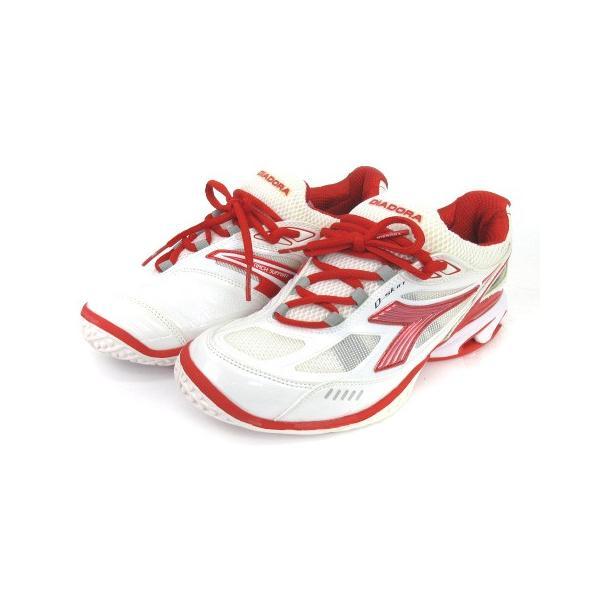 【中古】ディアドラ DIADORA スニーカー シューズ スピードプロWI5 III SG メッシュ 白 赤 スポーツ テニス 24 靴 メンズ レディース 【ベクトル 古着】|vectorpremium