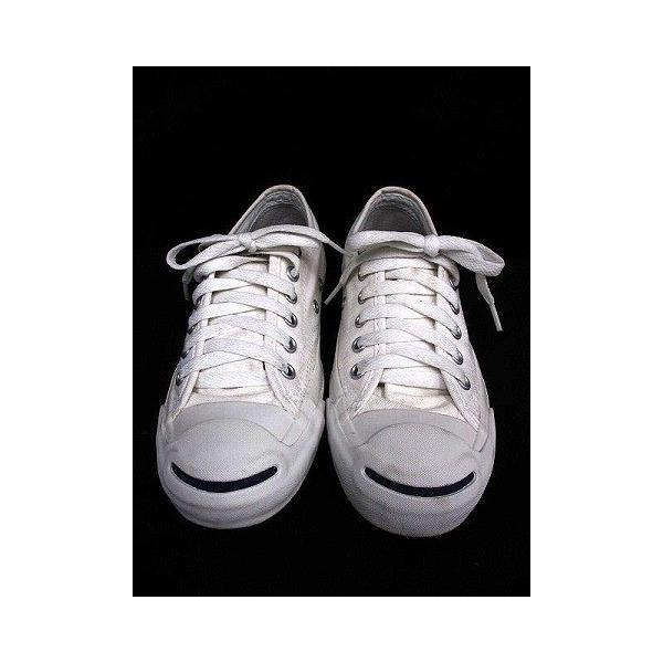 【中古】コンバース CONVERSE ジャックパーセル ローカット スニーカー ワンポイント キャンバス ホワイト 白 23.0 シューズ 靴 レディース|vectorpremium|02