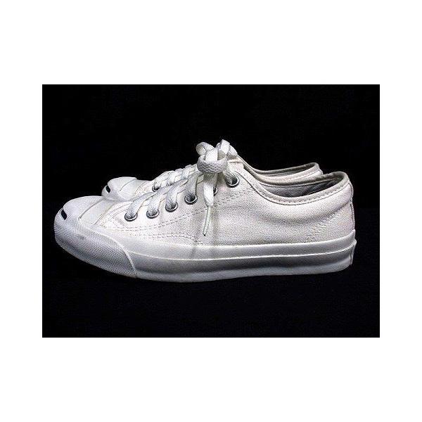 【中古】コンバース CONVERSE ジャックパーセル ローカット スニーカー ワンポイント キャンバス ホワイト 白 23.0 シューズ 靴 レディース|vectorpremium|03